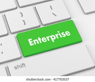 concept of e-commerce or ecommerce, enterprise, with message on computer keyboard, 3d rendering