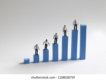 The concept of economic inequality between individuals. Bar graphs and miniature people.