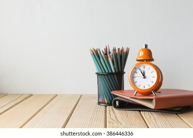 Concept of education or back to school on wooden background