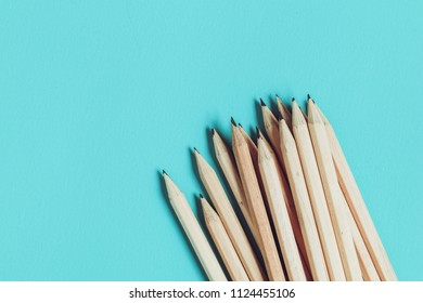 Concept of education pencil on table with filter effect retro vintage style