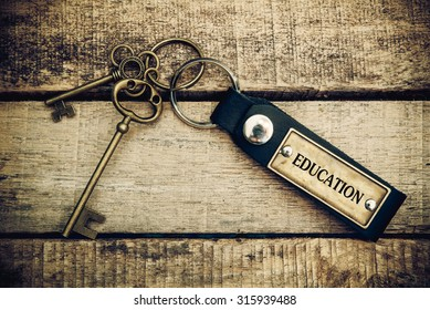 The concept of 'education' is translated by key and silver key chain