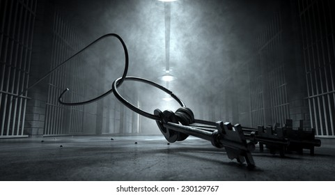 A concept of an eerie corridor at night showing jail cells dimly illuminated by various lights and a bunch of cell keys laying ominously on the floor being hooked by a bent wire coming from the cells
