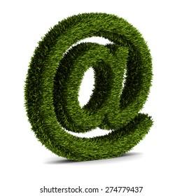 concept of e-mail symbol covered grass