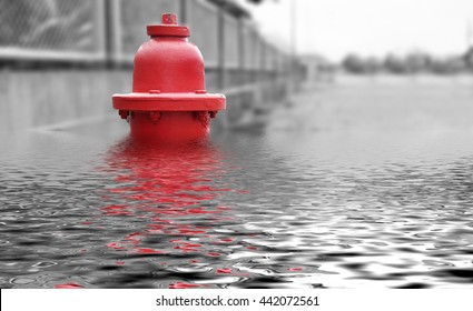 Concept emergency ,Flood, fire water hydrant .