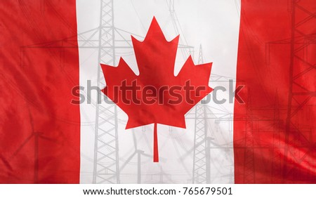 Concept Energy Distribution, Flag of Canada merged with high voltage power poles