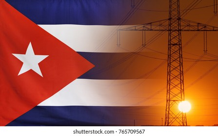 Concept Energy Distribution, Flag of Cuba with high voltage power pole during sunset