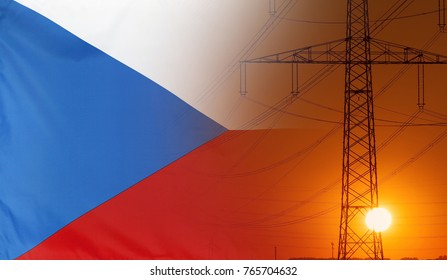 Concept Energy Distribution, Flag of Czech Republic with high voltage power pole during sunset
