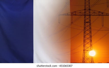 Concept Energy Distribution, Flag of France with high voltage power pole during sunset