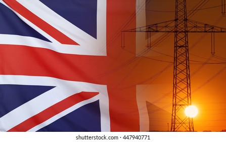 Concept Energy Distribution, Flag of Great Britain with high voltage power pole during sunset