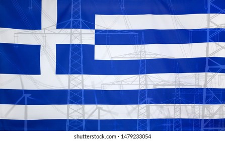 Concept Energy Distribution, Flag of Greece merged with high voltage power poles