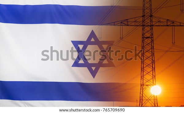 Concept Energy Distribution, Flag of Israel with high voltage power pole during sunset