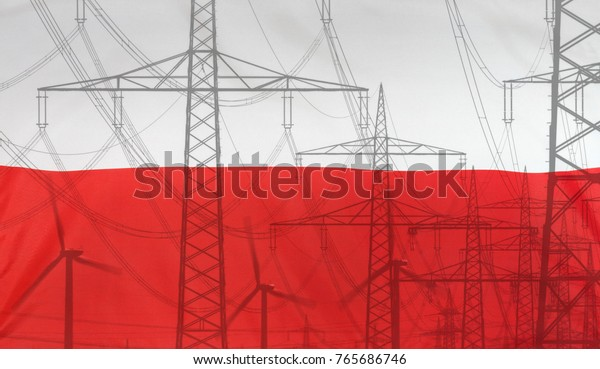 Concept Energy Distribution, Flag of Poland merged with high voltage power poles