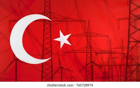 Concept Energy Distribution, Flag of Turkey merged with high voltage power poles