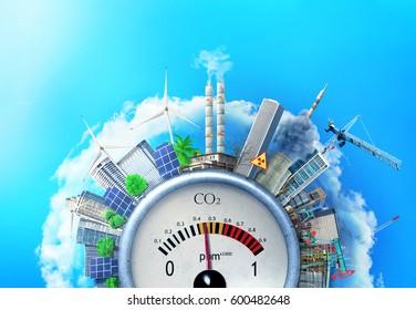 The concept of environmental pollution. City around a carbon dioxide sensor against a blue sky. The concept of safe energy.