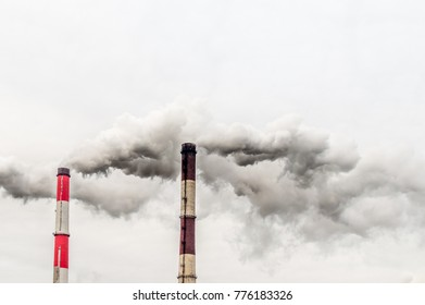 concept environmental pollution. smoke from a pipe