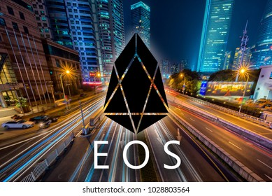 Concept of  EOS coin,  a Cryptocurrency blockchain, Digital money