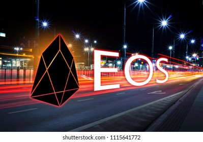 Concept of EOS coin moving fast  on the road, a Cryptocurrency blockchain platform , Digital money