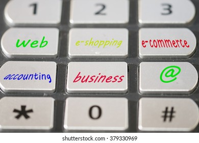 concept of e-shopping and e-commerce with a keyboard and some written