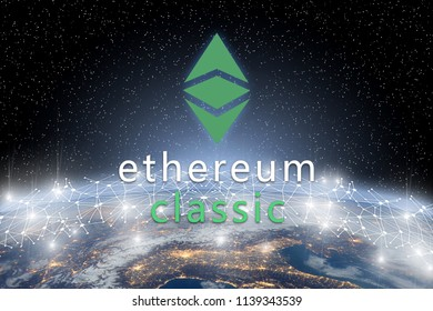 Concept of ethereum classic coin floating over world network, a Cryptocurrency blockchain platform , Digital money