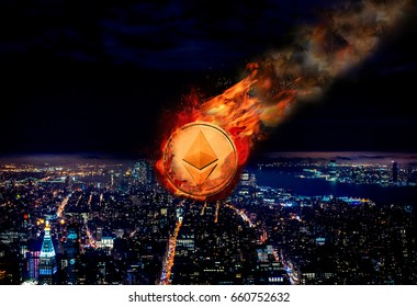 Concept of  Ethereum, Price falling.  Instability.  Comet
