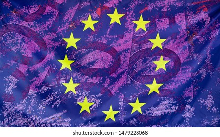 Concept european flag with 500 Euro bills composition