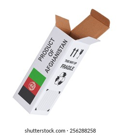 Concept of export, opened paper box - Product of Afghanistan