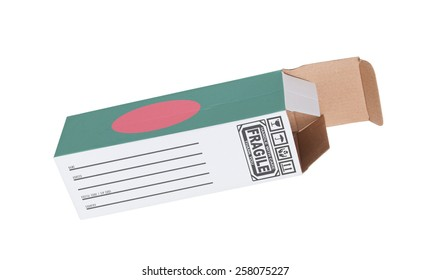 Concept of export, opened paper box - Product of Bangladesh