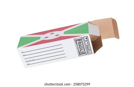 Concept of export, opened paper box - Product of Burundi