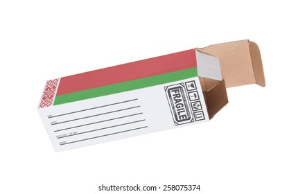 Concept of export, opened paper box - Product of Belarus