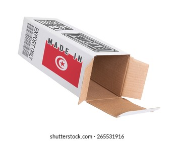 Concept of export, opened paper box - Product of Tunisia