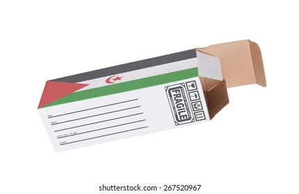 Concept of export, opened paper box - Product of Western Sahara