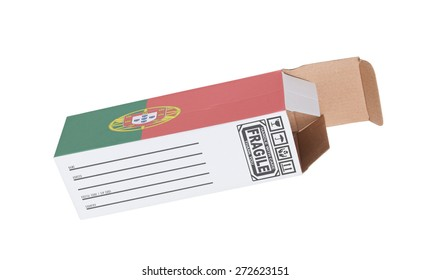 Concept of export, opened paper box - Product of Portugal
