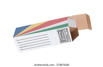 Concept of export, opened paper box - Product of the Seychelles