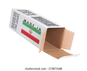 Concept of export, opened paper box - Product of Iran