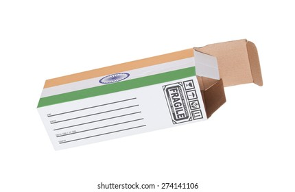 Concept of export, opened paper box - Product of India