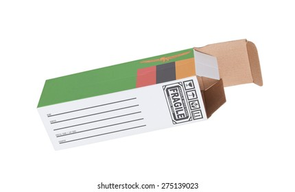 Concept of export, opened paper box - Product of Zambia