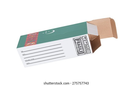 Concept of export, opened paper box - Product of Turkmenistan