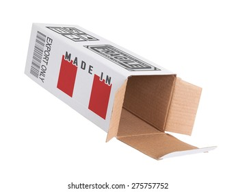 Concept of export, opened paper box - Product of Peru
