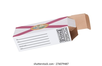 Concept of export, opened paper box - Product of Florida