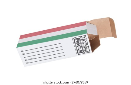 Concept of export, opened paper box - Product of Hungary