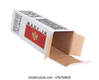 Concept of export, opened paper box - Product of Montenegro