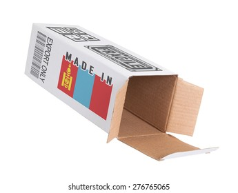 Concept of export, opened paper box - Product of Mongolia