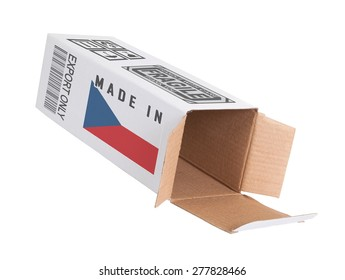 Concept of export, opened paper box - Product of Czech Republic