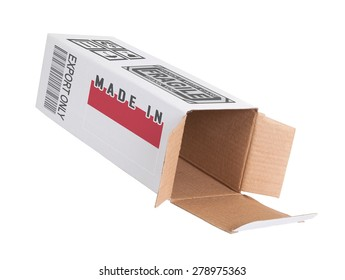 Concept of export, opened paper box - Product of Indonesia