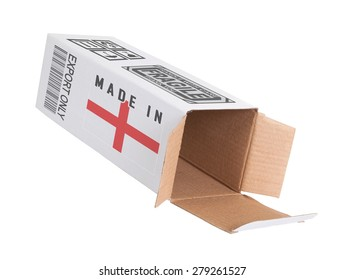 Concept of export, opened paper box - Product of England
