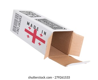 Concept of export, opened paper box - Product of Georgia