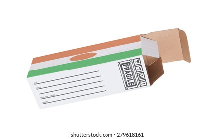 Concept of export, opened paper box - Product of Niger