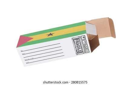 Concept of export, opened paper box - Product of Sao Tome and Principe