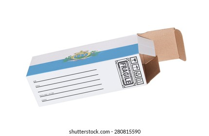 Concept of export, opened paper box - Product of San Marino