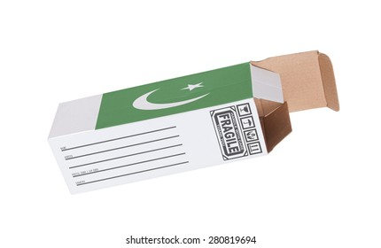 Concept of export, opened paper box - Product of Pakistan